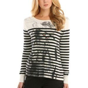 Guess Black & White Stripe Graphic Print Sweater